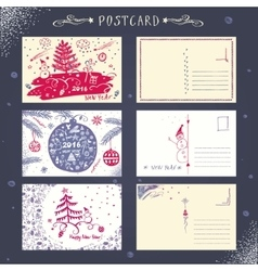 Set post card New Year 2016 vector image