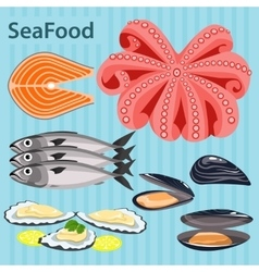 Set sea food ingredients vector
