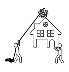 Silhouette workers with pulley holding small house vector