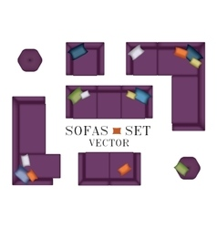 Sofas Armchair Set Top view Furniture Pouf vector image