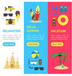 summer rest banner vecrtical set vector image vector image
