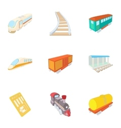 Train ride icons set cartoon style vector