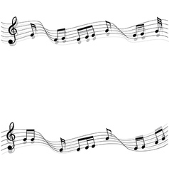 Two short row of black musical chords flowing vector