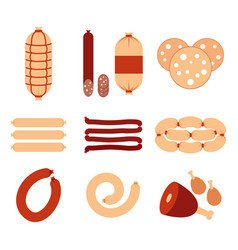 Variety of sausages and meat icons set flat vector