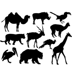 wild animal silhouettes vector image vector image