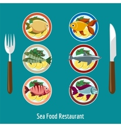 Set of fish dishes vector