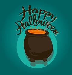 Cauldron happy halloween vector