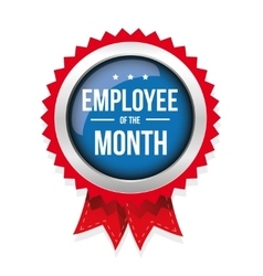 Employee of the month badge with ribbon vector