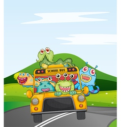 Monsters in schoolbus vector