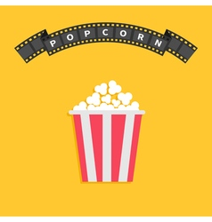 Popcorn big film strip round wave ribbon line with vector