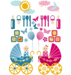 Baby set en blue pin vector