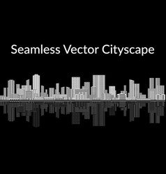 black and white city seamless vector image