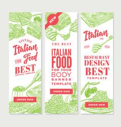 vintage italian food vertical banners vector image