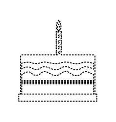 Birthday cake sign  black dashed icon on vector