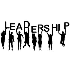 leadership concept with people silhouettes vector image