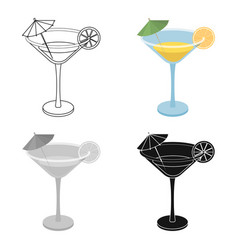 Lemon cocktail icon in cartoon style isolated on vector
