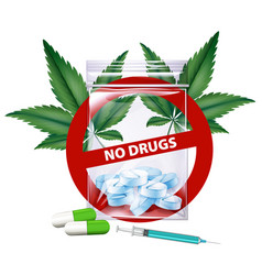 no drugs sign with marijuana leaves vector image