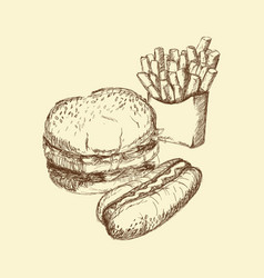 Hand drawn burger hot dog french fries food vector