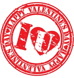 Happy valentine day i love you stamp vector