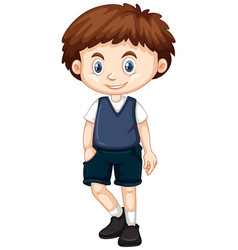 Little boy in blue vest and shorts vector