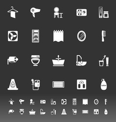 Bathroom icons on gray background vector