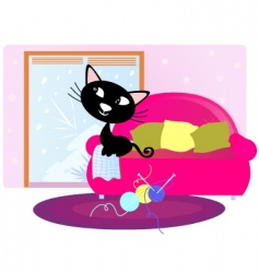 Xmas cat sitting on sofa vector