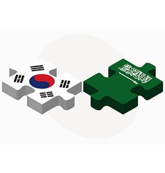 South korea and saudi arabia flags in puzzle vector
