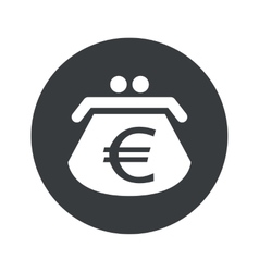 Monochrome round euro purse icon vector