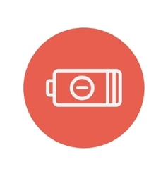 Negative power battery thin line icon vector