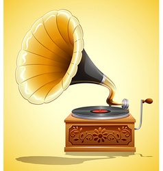 Gramophone with recorder on yellow vector