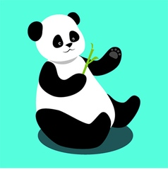Panda sitting and holding a bamboo branch vector