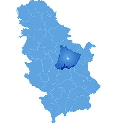 Map of serbia subdivision pomoravlje district vector