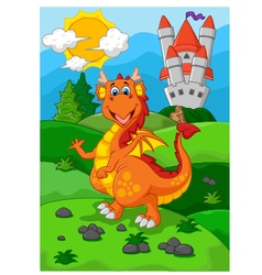 Cute red dragon on castle vector
