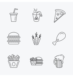 Hamburger pizza and soft drink icons beer vector