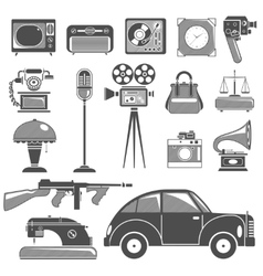 Retro black white objects set vector