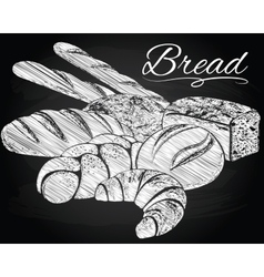 Breads on the chalkboard background vector