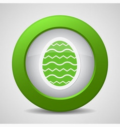 Button with green easter egg vector