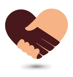 Love handshake with heart shape design vector
