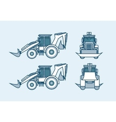 Loader front side back view in line style vector