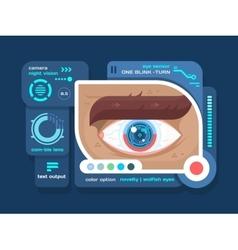 Technology in eye flat vector