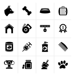 Black dog and cynology object icons vector