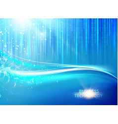 blue background with bigdata cyber code vector image