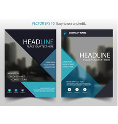 blue triangle brochure annual report leaflet vector image