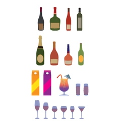 Bottles stemware glasses alcohol beverages vector
