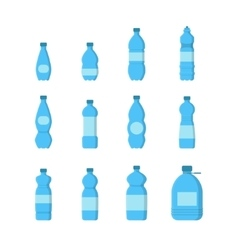 Cartoon Plastic Blue Bottles for Water Set vector image