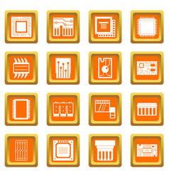 computer chips icons set orange vector image vector image