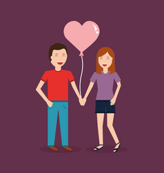 Couple laughing happy holding balloon shape heart vector