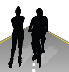 couple recreate on bike and roller vector image vector image