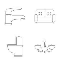 Crane sofa toilet chandelierfurniture set vector