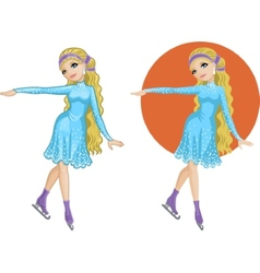 Cute young caucasian woman figure skater vector